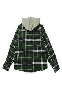 Camisa Xadrez Infantil Capuz Removível E Bolso Masculina Verde