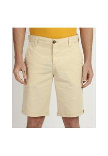 Bermuda De Sarja Texturizada Masculina Chino Reta Com Bolsos Amarelo Claro