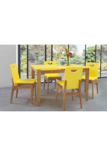 Sala De Jantar Com Mesa E 4 Cadeiras Tucupi 120Cm - Acabamento Stain Nozes E Laca Amarelo