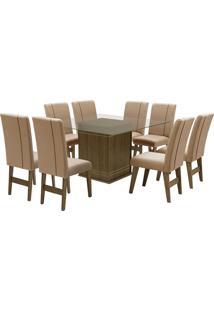 Conjunto De Mesa Para Sala De Jantar Com 8 Cadeiras Saint Louis-Dobue - Castanho / Bege