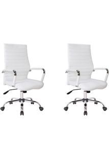Conjunto Com 2 Cadeiras De Escritório Diretor Cleaner Branco