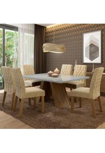 Conjunto Sala De Jantar Madesa Vanessa Mesa Tampo De Vidro Com 6 Cadeiras