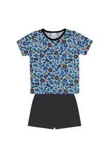 Conjunto Pijama Menino Em Meia Malha Camiseta Verde Claro Rotativa E Bermuda Preta - Liga Nessa