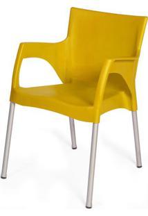 Cadeira Atenas Em Polipropileno Amarelo Com Pes Aluminio - 47977 - Sun House