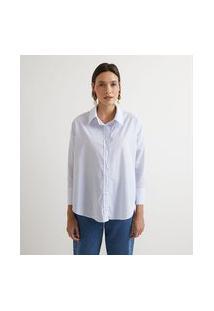Camisa Em Tricoline Listrada Com Manga Longa | Marfinno | Azul Claro | P
