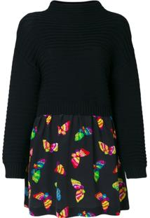 Boutique Moschino Vestido Com Mix De Tecidos - Preto