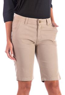 Bermuda Sisal Jeans Ciclista Bolso-Faca Caqui Bege