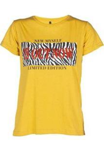 Camiseta Estampada Manga Curta Besni Feminina - Feminino-Mostarda