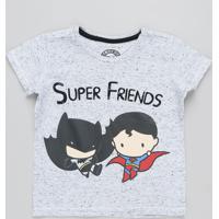 d9d87408f Camiseta Infantil Batman E Super Homem Manga Curta Gola Careca Cinza Mescla  Claro