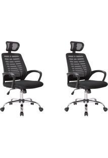 Conjunto Com 2 Cadeiras De Escritório Presidente Light Preto