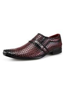 Sapato Social Neway Masculino Vermelho Escuro Vinho