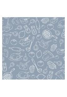 Papel De Parede Cinza Cozinha E Comida 57X270Cm