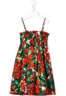 Dolce & Gabbana Kids Vestido Floral Com Babados - Vermelho