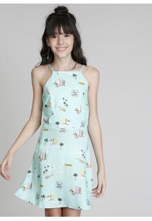 Vestido Halter Neck Infantil Love Dress Estampado Praia Com Tiras Verde Claro