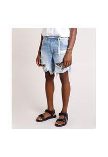 Bermuda Jeans Masculina Reta Destroyed Com Cinto Cordão Azul Claro