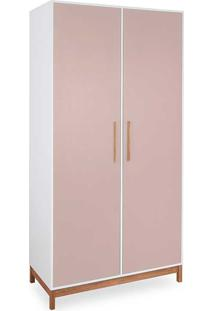 Roupeiro 2 Portas Guarda-Roupa Rosa Mdf E Madeira Design Moderno Moore - 104,6X53X198,5 Cm