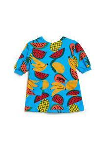 Vestido Infantil Fábula Em Moletom Com Estampa Tropical Est Tropical Azul Zul - 2
