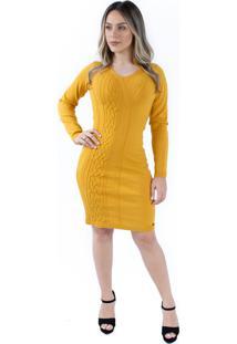 Vestido Com Gola Assimã©Trica E Bordada Jã©Ssi Tricã´ - Mostarda - Amarelo - Feminino - L㣠- Dafiti