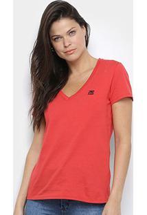 Camiseta Ellus 2Nd Floor Lisa Gola V Feminina - Feminino-Vermelho