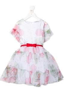 Monnalisa Vestido Evasê Com Estampa De Cereja - Branco