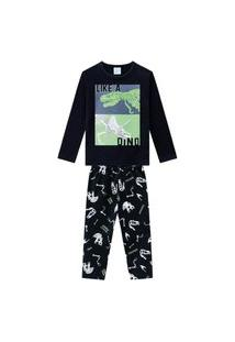 Pijama Menino Longo Meia Malha Estampa Que Brilha No Escuro Dinossauro Kyly - Preto - 10