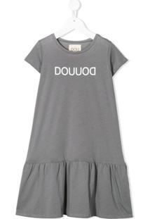 Douuod Kids Vestido Com Logo - Cinza