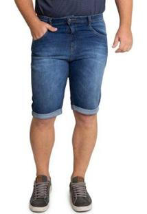 Bermuda Plus Size Biotipo Jeans Barra Dobrada Masculina - Masculino-Azul