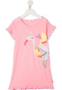 Billieblush Vestido Com Estampa De Flamingo E Detalhe De Aplicação - Rosa