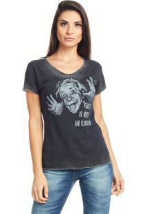Camiseta Bossa Brasil Reality Preto Marmorizado - Preto - Feminino - Algodã£O - Dafiti
