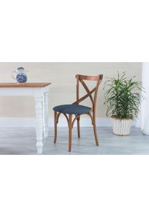 Cadeira X Estofada De Madeira Torneada Com Encosto Anatômico Madeleine - Stain Jatobá - Tec.997 Chumbo - 50X54,5X86 Cm