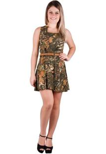 Vestido Banna Hanna De Visco Estampado Floral Verde Musgo/Orange P