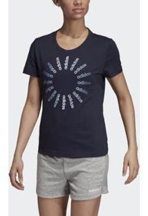 Camiseta Adidas Circled Graphic Feminina - Feminino-Marinho