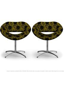 Kit 2 Cadeiras Beijo Floral Preto E Amarelo Poltrona Decorativa Com Base Giratória