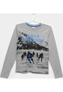 Camiseta Infantil Brandili Manga Longa - Masculino-Cinza