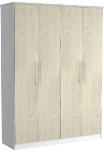 Guarda-Roupa Solteiro 4 Portas 100% Mdf 974 Branco/Marfim Areia - Foscarini