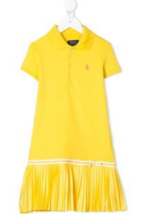 Ralph Lauren Kids Vestido Polo Com Babados - Amarelo