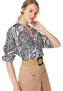 Amaro Feminino Camisa Manga Longa Oversized, Animal Mix