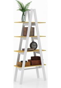 Estante Escada Branco Amarelo 4 Prateleiras Movelbento
