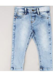 Calça Jeans Infantil Skinny Com Bolsos Azul Claro