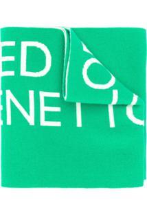 Benetton Cachecol De Tricô Com Logo - Verde