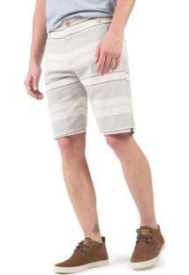 Bermuda Com Retícula Masculino - Masculino-Off White