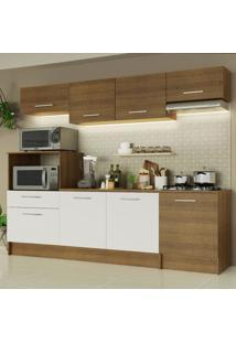 Cozinha Completa Madesa Onix 240003 Com Armã¡Rio E Balcã£O - Rustic/Branco 5Z6E Marrom - Marrom - Dafiti