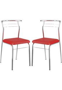 Cadeira 1708 Cromada 02 Unidades Vermelha Carraro