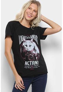 Camiseta Coca-Cola Estampa Action Feminina - Feminino-Preto