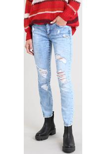 Calça Jeans Feminina Skinny Destroyed Azul Claro
