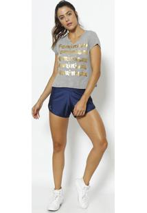 "Blusa ""Feminism""- Cinza & Dourada- Physical Fitnessphysical Fitness"