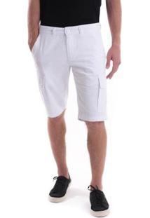 Bermuda Sarja Slim Bolso Cargo Amaciada Masculina - Masculino-Branco