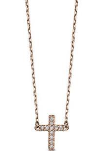 Colar Cruz Ouro Rosã© E Diamantes