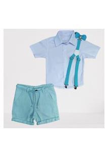 Camisa Branca Social Com Bermuda Verde Infantil Referência: 71481