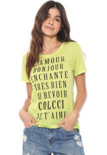 Camiseta Colcci Lettering Neon Verde